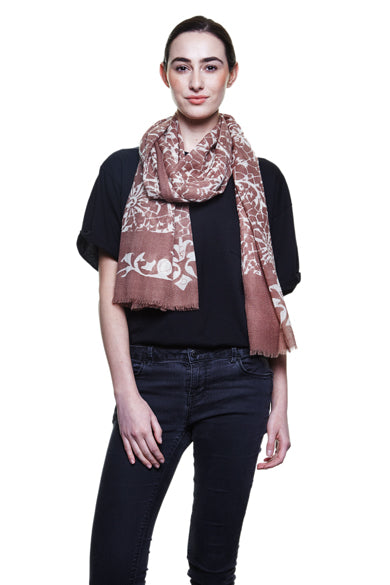 Taupe Lace Wool Scarf