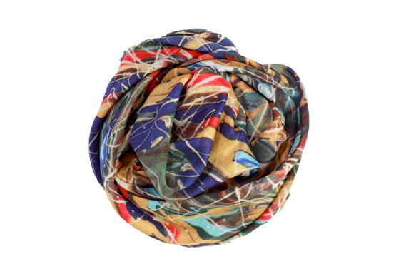 Tangled Up In Blue Painting Wool Silk Scarf