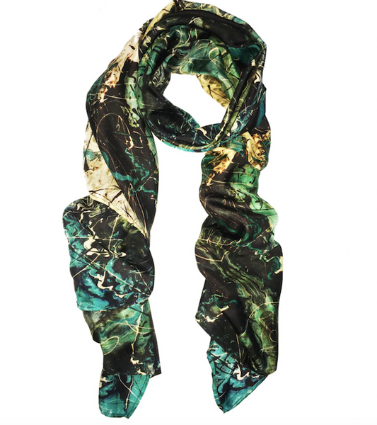 St. Croix Deep Blue Painting Silk Scarf