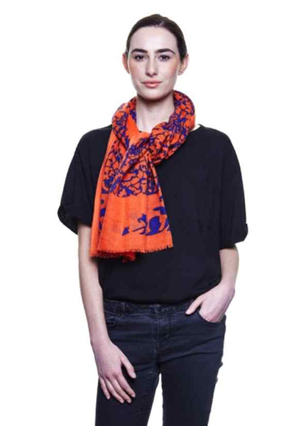Crimson Lace Print Wool Scarf