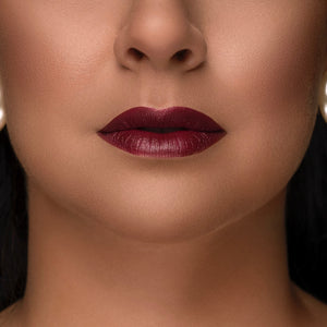 Gold Label Cosmetics Luxury Lipstick In Thanks On Model - Alt