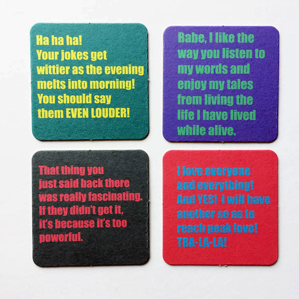 Sale! Drunken inner voice coaster set.
