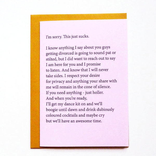 Cone of silence divorce card