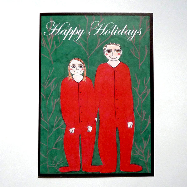 Red matching onesies holiday card.