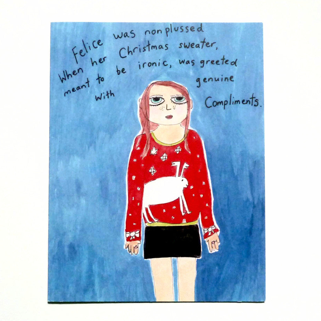 Ironic Christmas sweater, funny holiday card