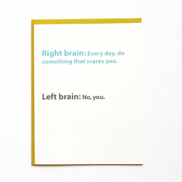 Left brain/right brain card