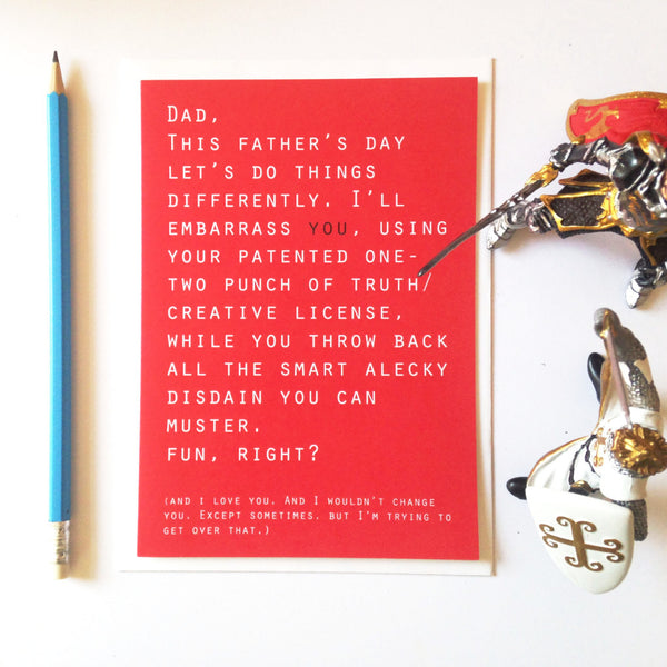 Trading places with dad. Funny father's day card.