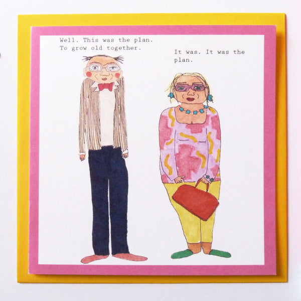 Grow old together love card. Anniversary card.