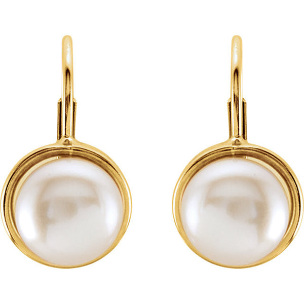 White Pearl Leverback Earrings 14K Yellow