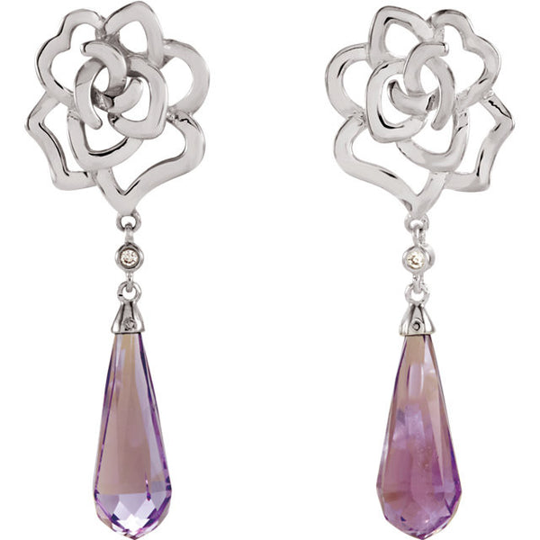 Amethyst & Diamond Floral Briolette Earrings Sterling Silver
