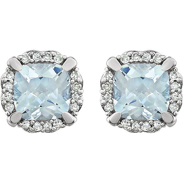 Aquamarine & 1/10 CTW Diamond Earrings 14K White