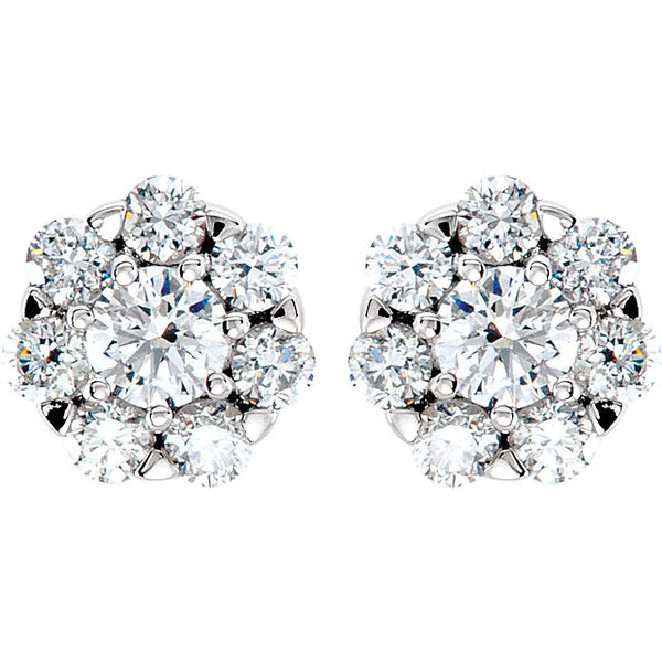 Diamond Cluster Earrings Round 3/4 CTW 14K White