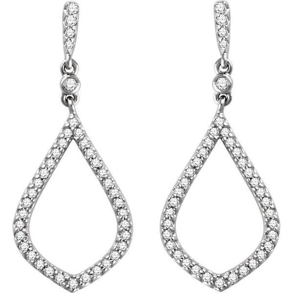 Teardrop Shape Diamond Earrings 14K White
