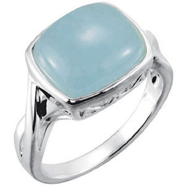 Milky Aquamarine Ring Sterling Silver