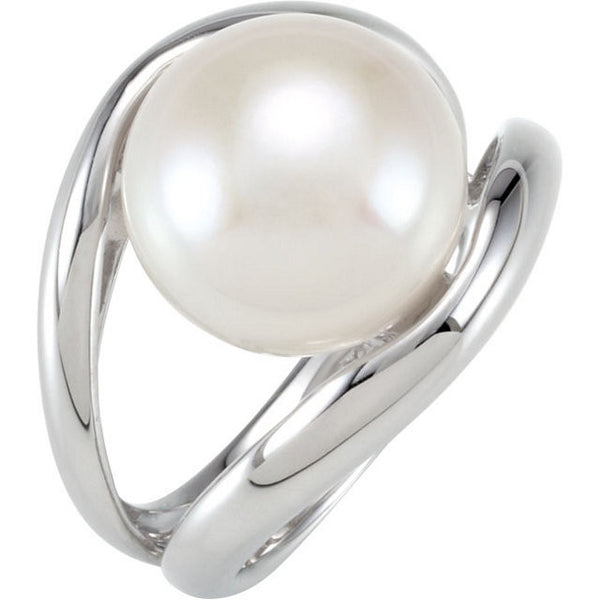 White Pearl Ring Sterling Silver