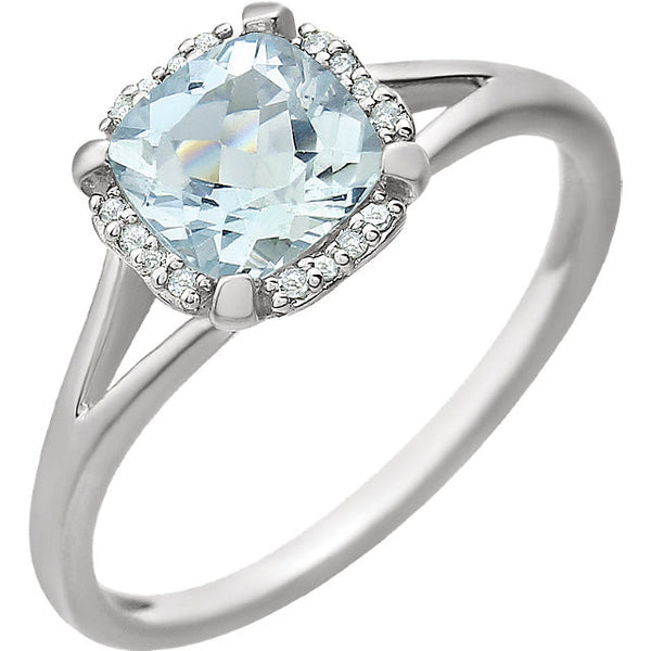 Aquamarine & .05 CTW Diamond Ring 14K White