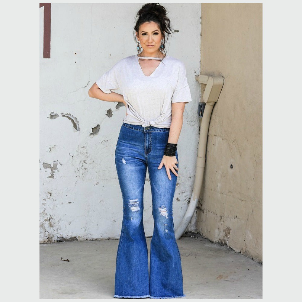 Medium Distressed Flare Jean