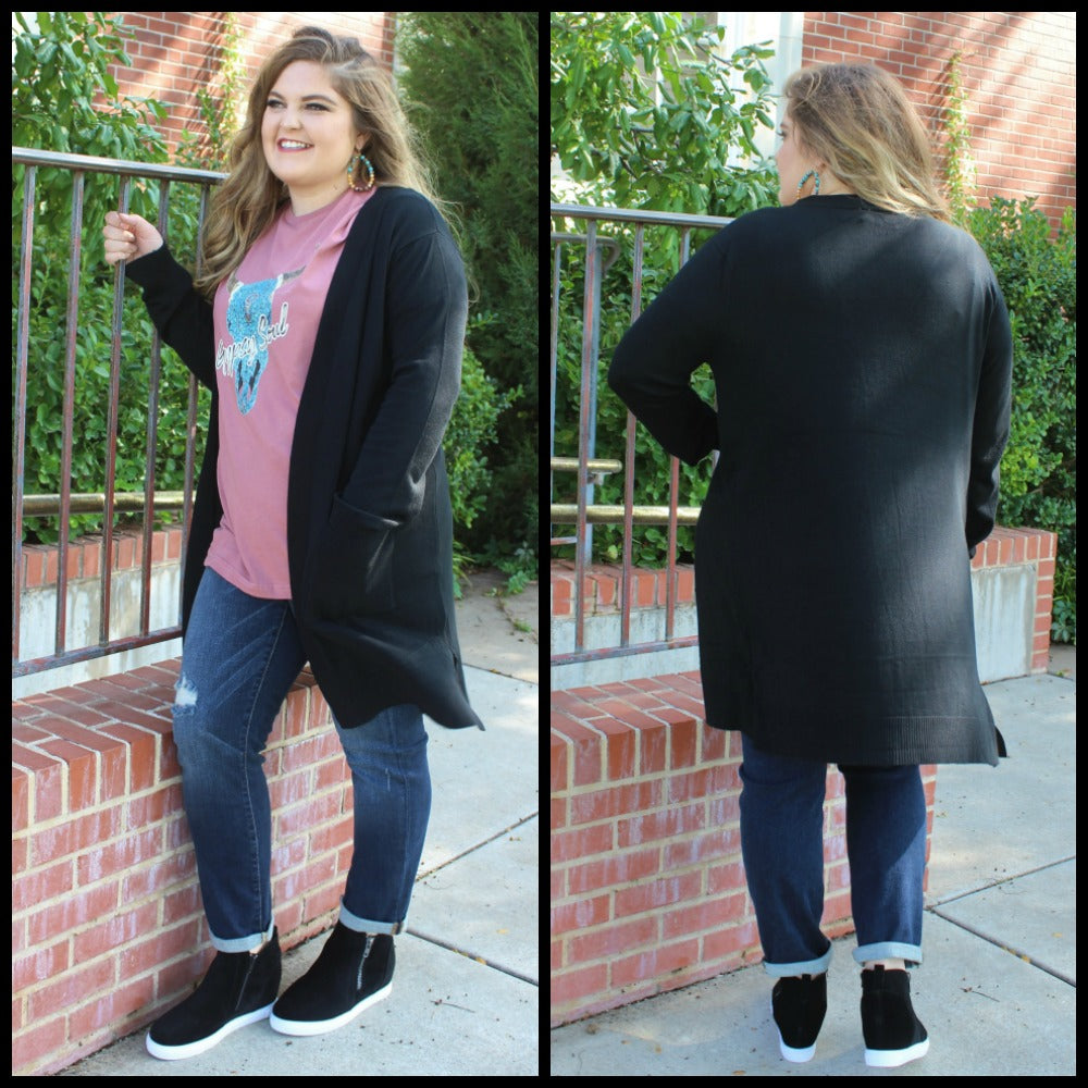 PLUS Back To Basics Black Cardigan