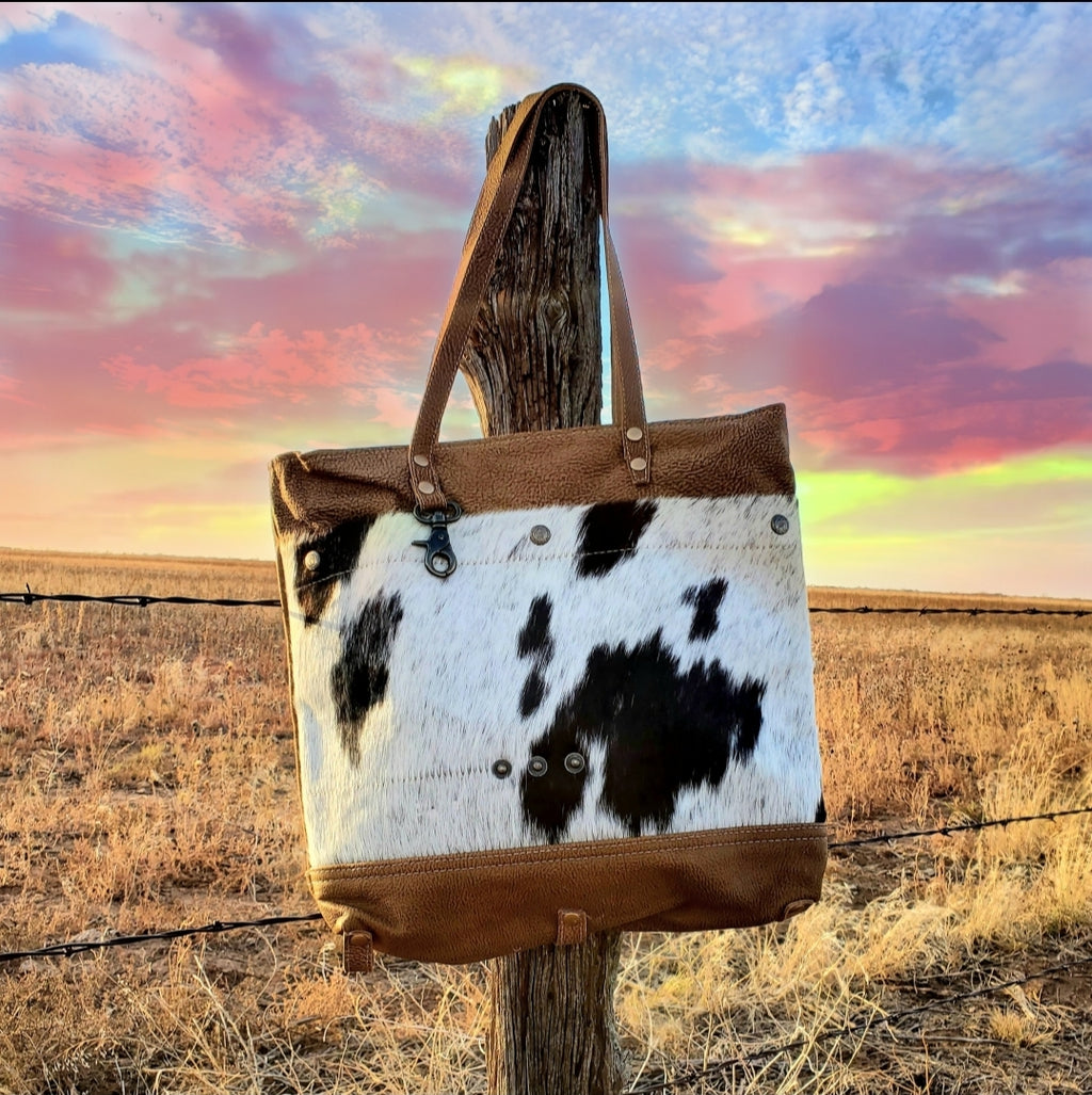 Cocoa Cow Leather Bag