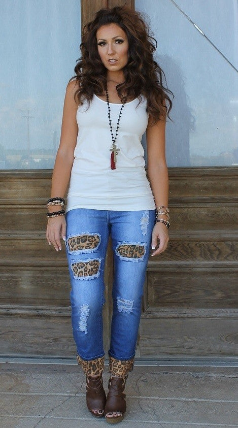 Boyfriend Jeans with Brown Leopard Patches