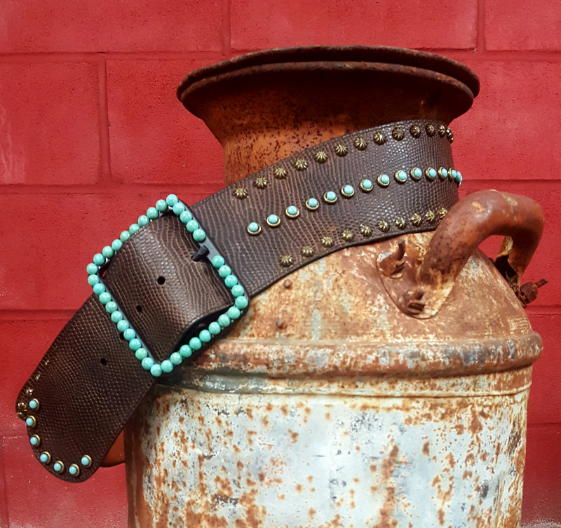 Leather & Turquoise Studded Belt