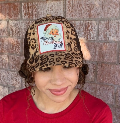 Leopard Merry Christmas Y'all Hat
