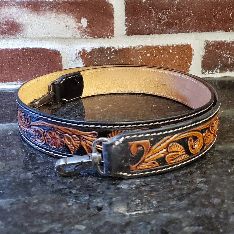 Black Darling Tooled Leather Strap
