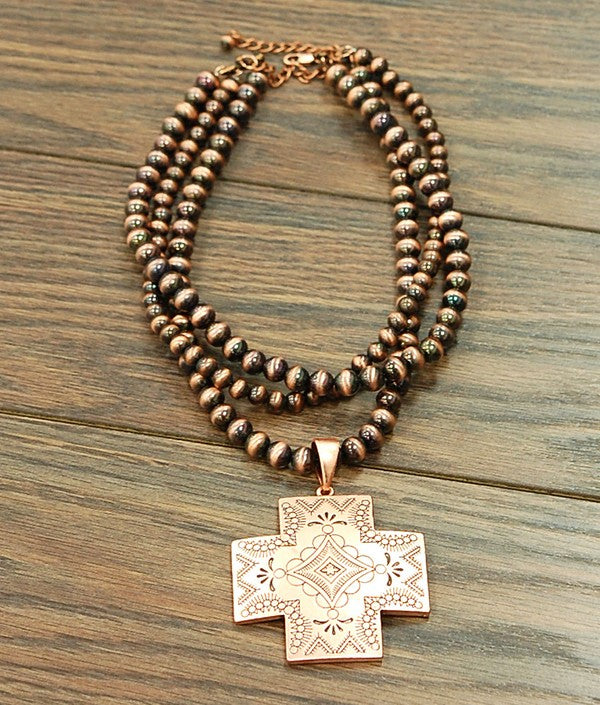 Copper Navajo Cross Pendant Necklace