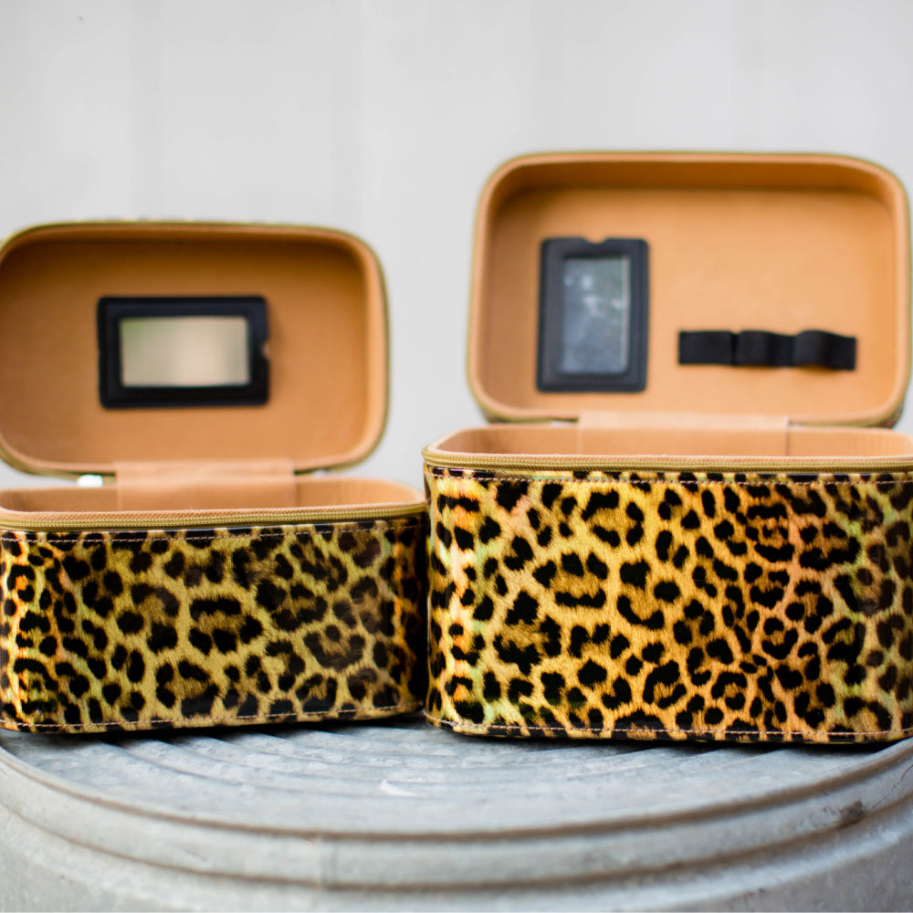 2 Piece Leopard Cosmetic Cases