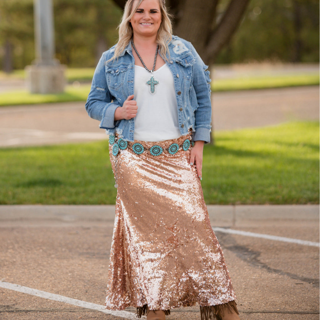 Plus Rose Gold Sequin Maxi Skirt