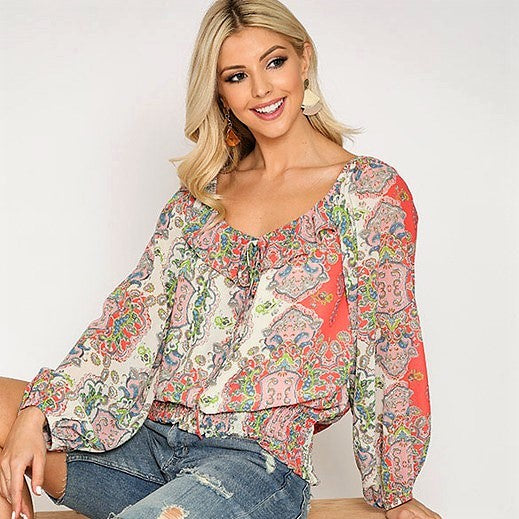 Paisley Punch Ruffle Top