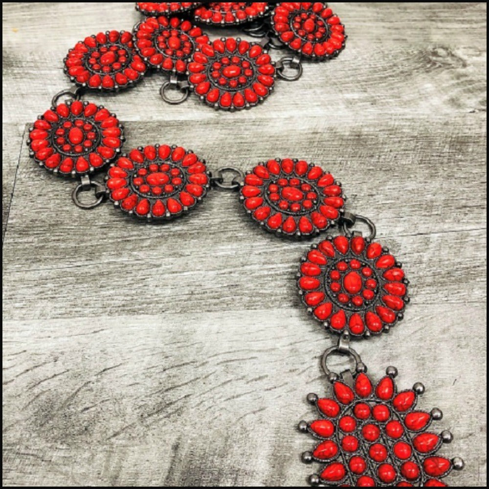 Chili Pepper Stone Link Chain Belt