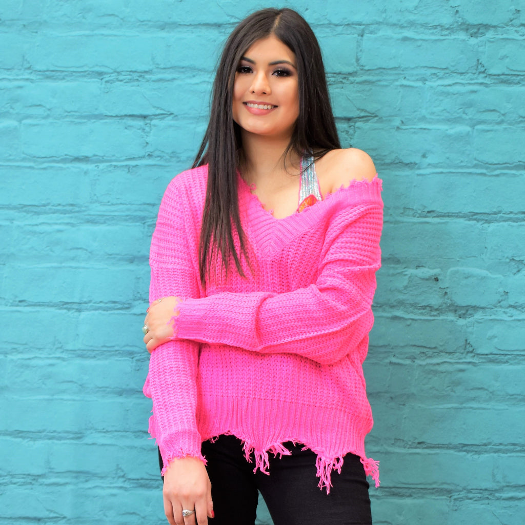 Neon Bubblegum Frayed Sweater