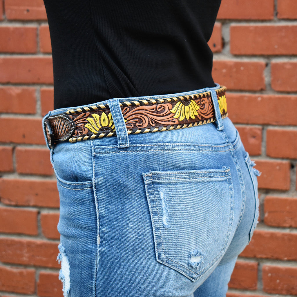 Summertime Sunflower Leather Belt