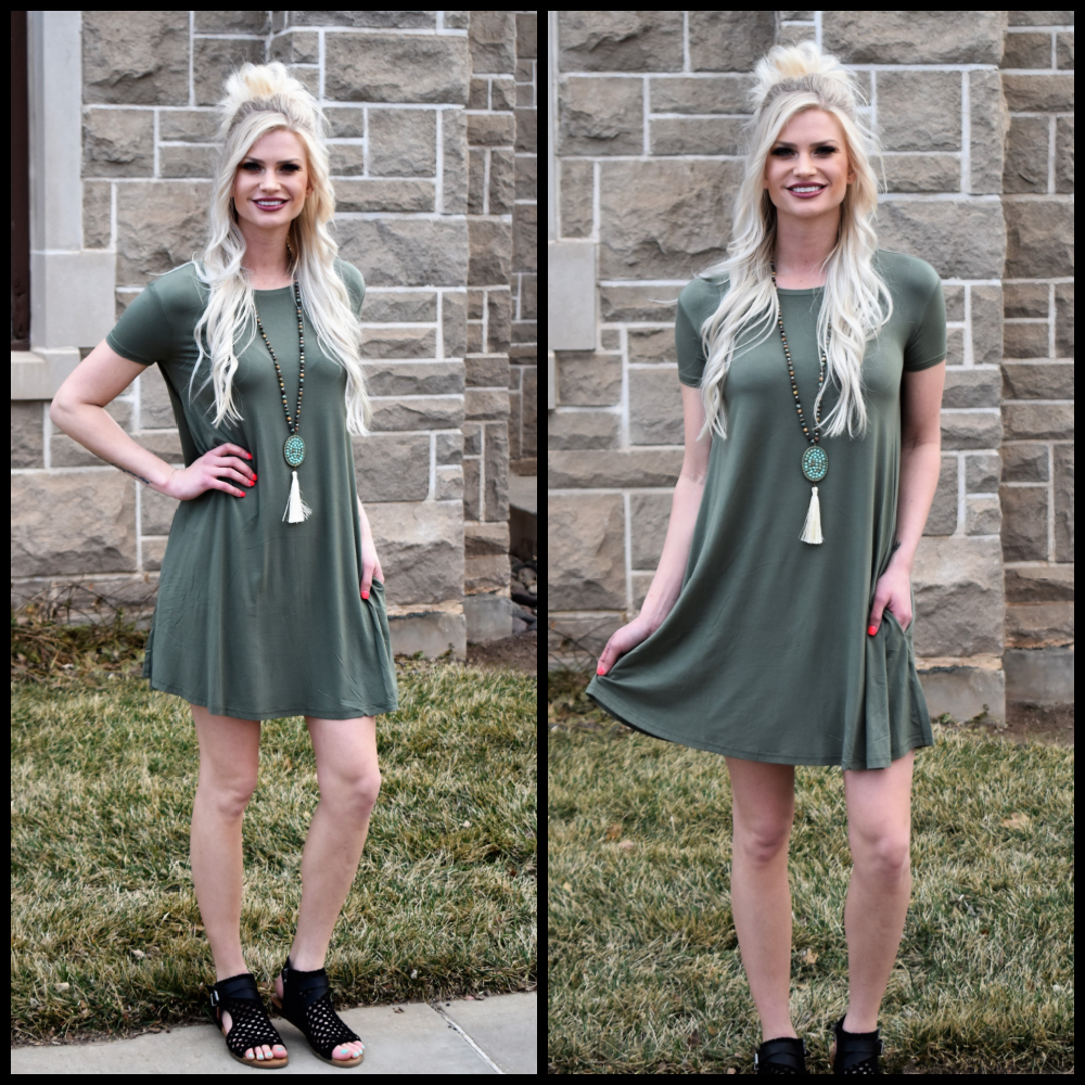 Olive So Basic T-Shirt Dress
