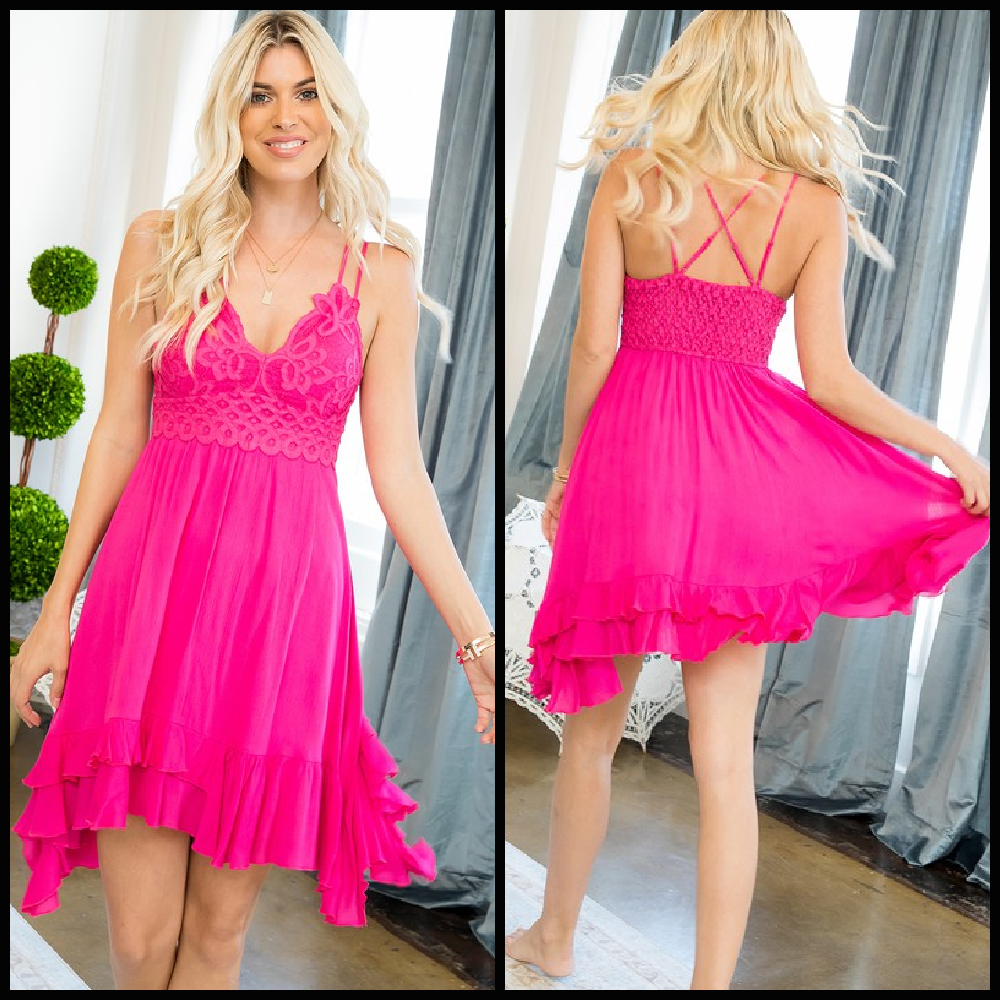 Lacy Fuchsia Dress