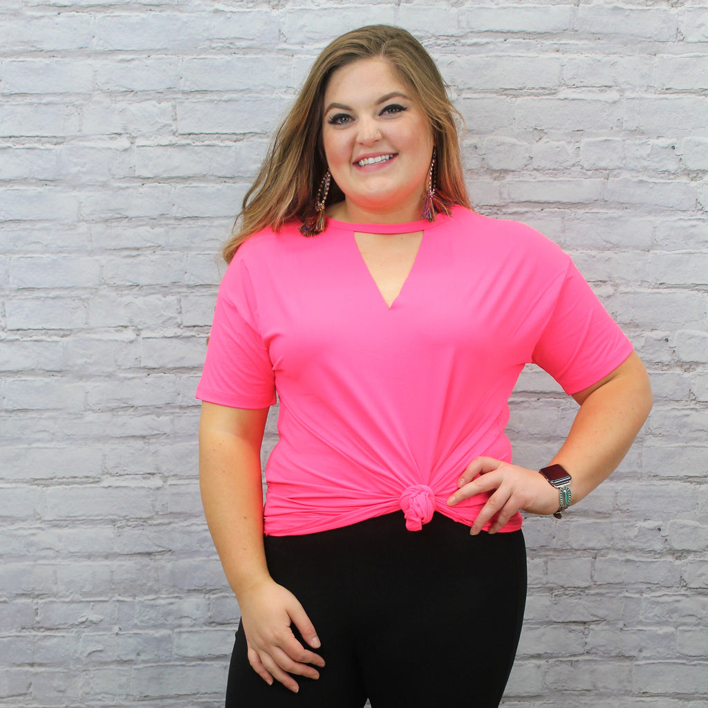 PLUS Poppin Pink Text-line V-Neck Top