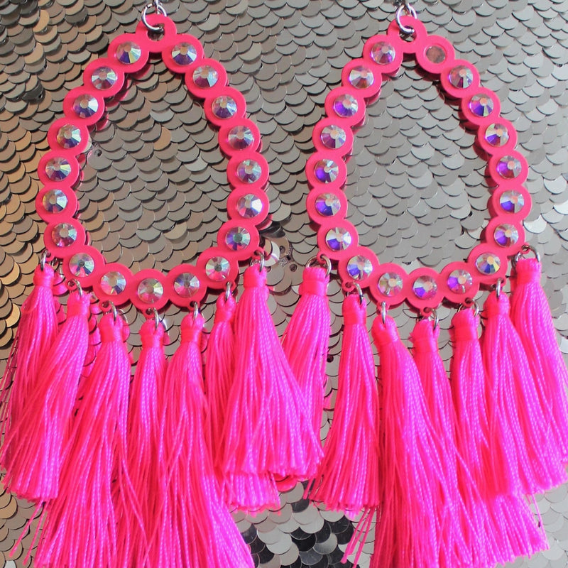 All American Candy Pink Fringe Earring