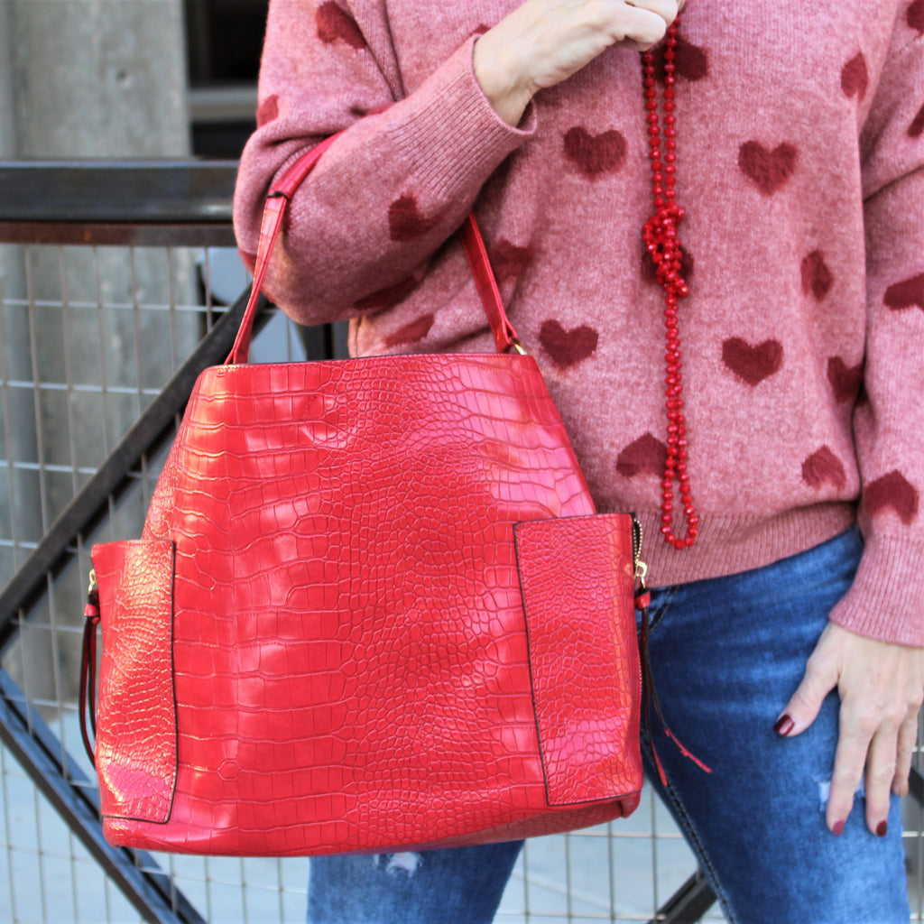 Red Croc 2-In-1 Hand Bag