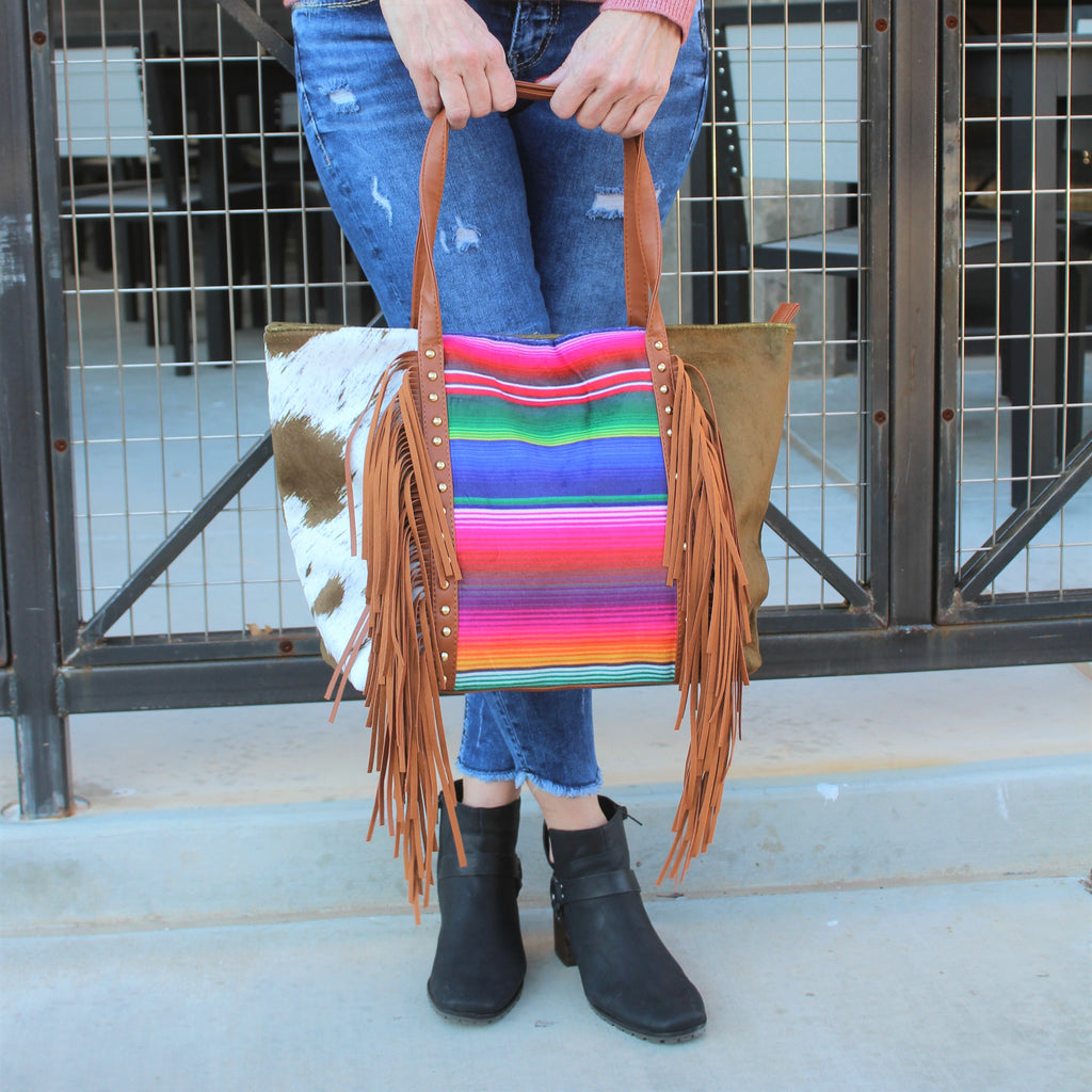 What The Fringe Brown Serape Tote