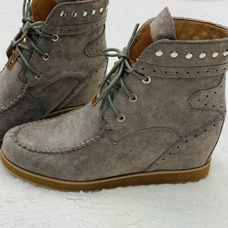 Grey Moccasin Wedge Bootie