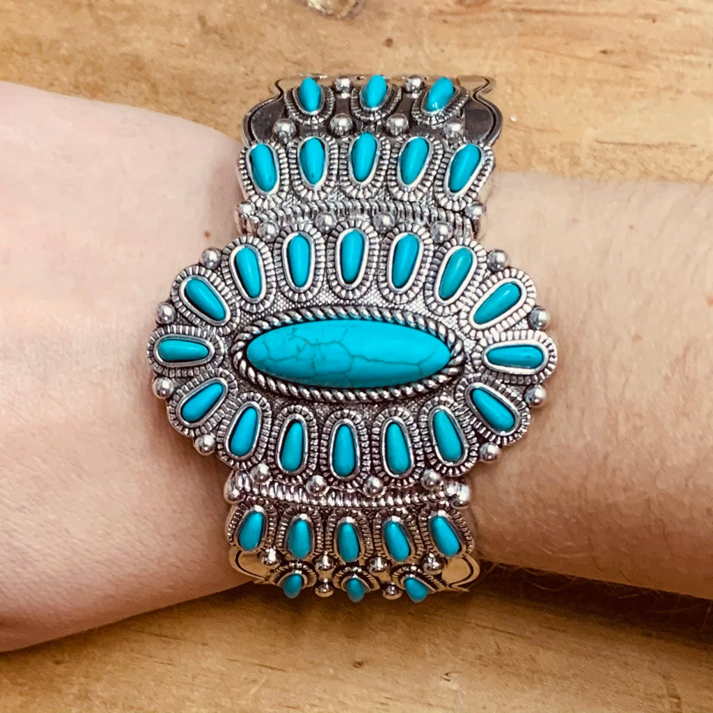 Fancy In Turquoise Stretch Bracelet