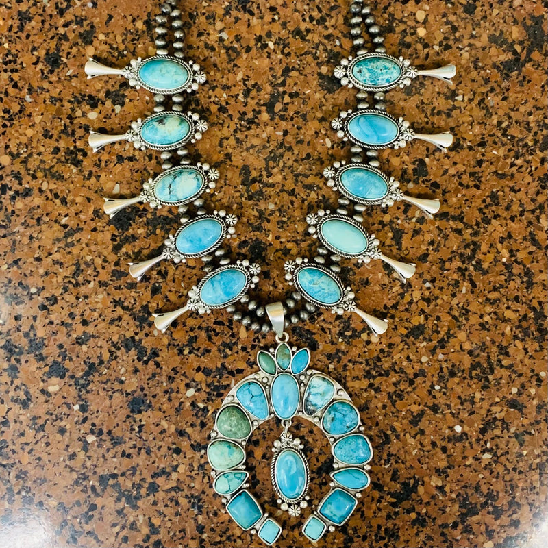 That Silver Turquoise Squash Blossom Necklace