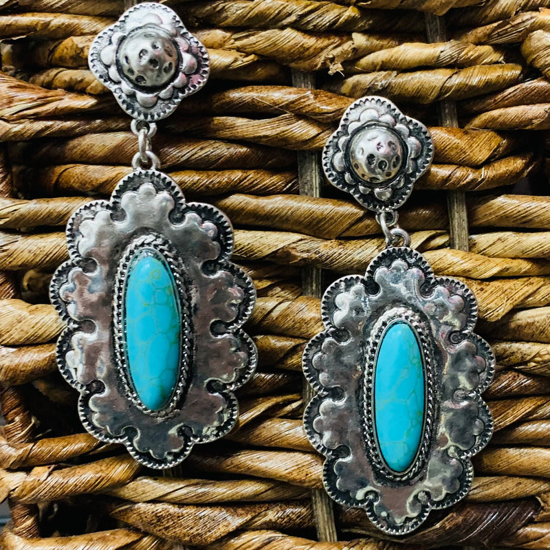 On A Silver Platter Turquoise Earrings