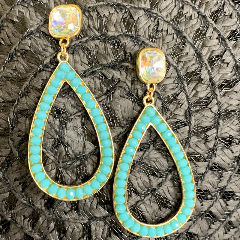 Classical Crystal Blue Bead Earrings