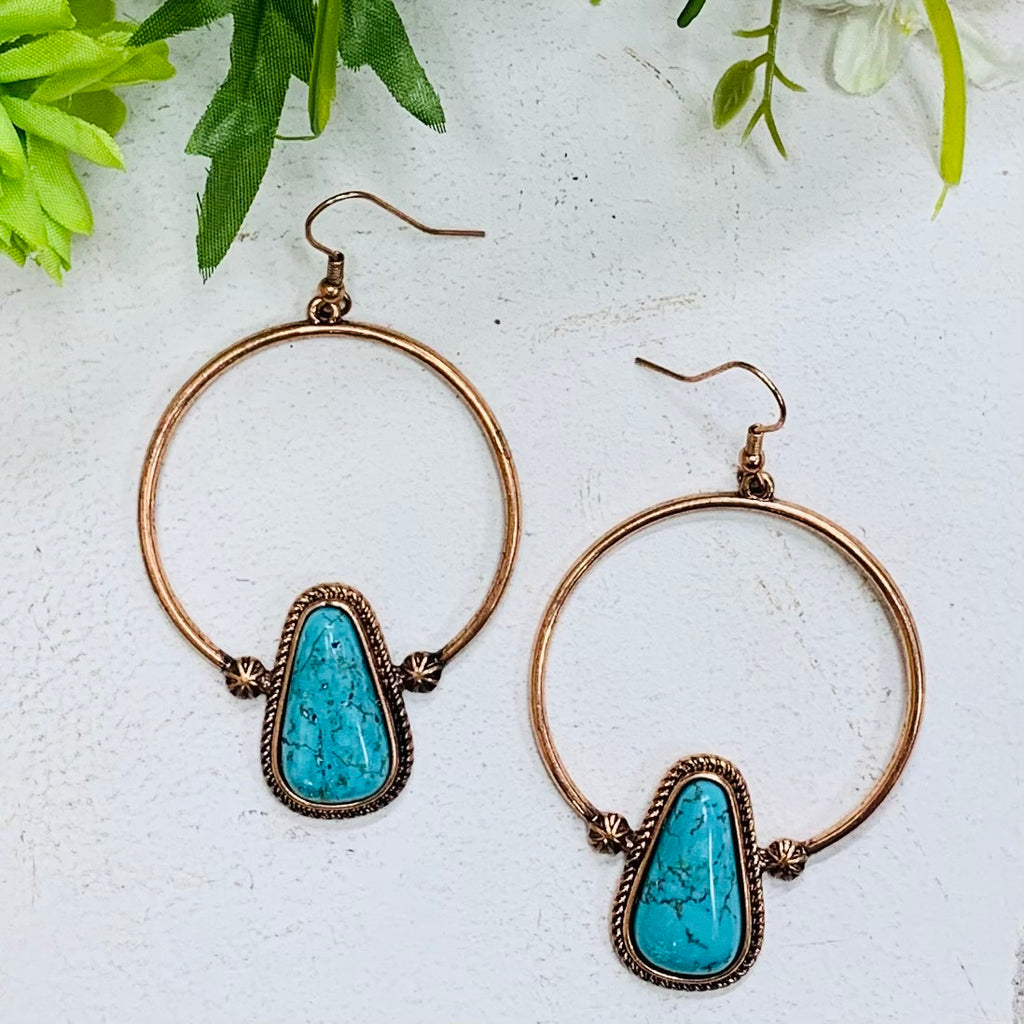 Copper Circle The Wagons Earring