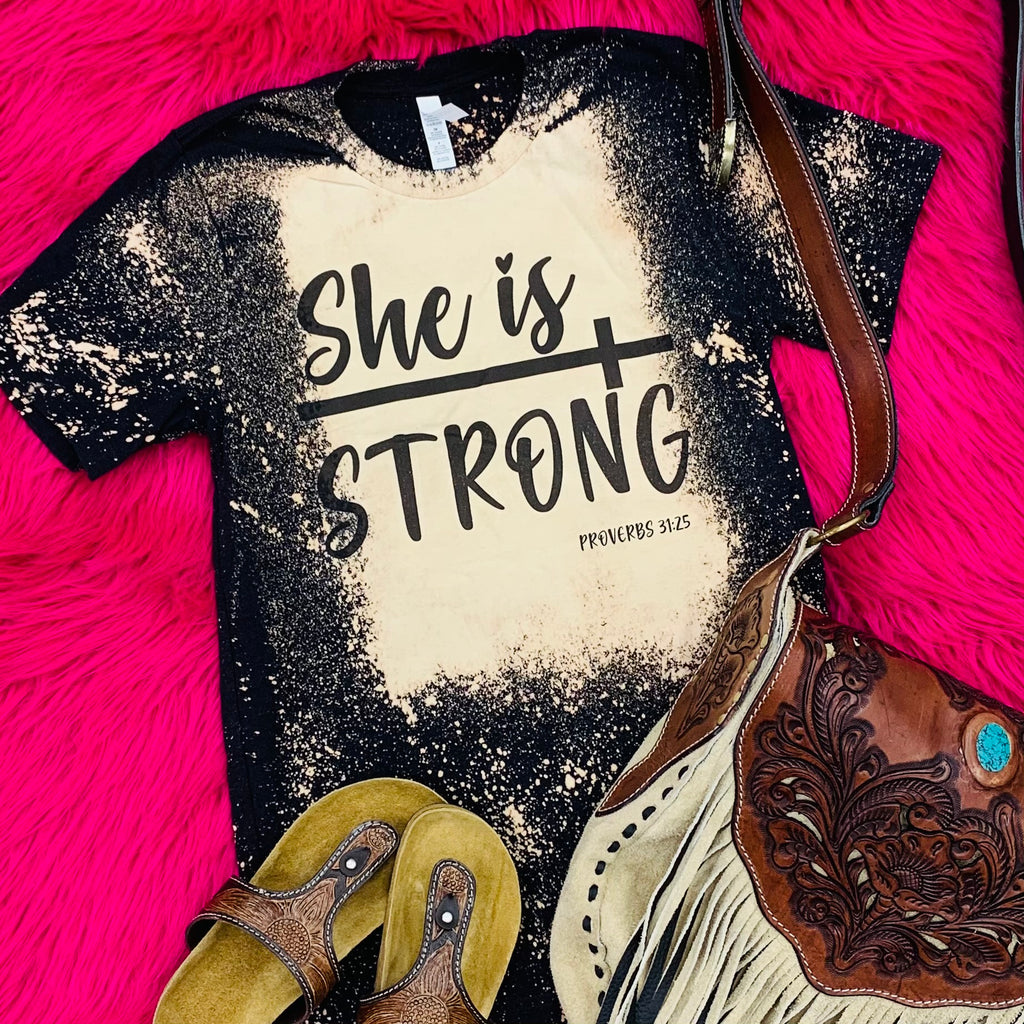 Plus Black She Is Strong Tee