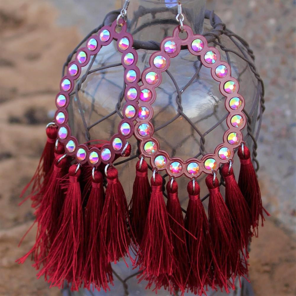 All American Maroon Fringe Earring