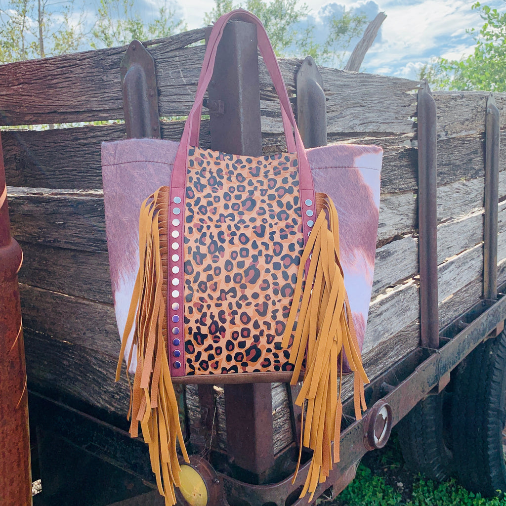 Barn Raisin' Leopard Fringe Purse