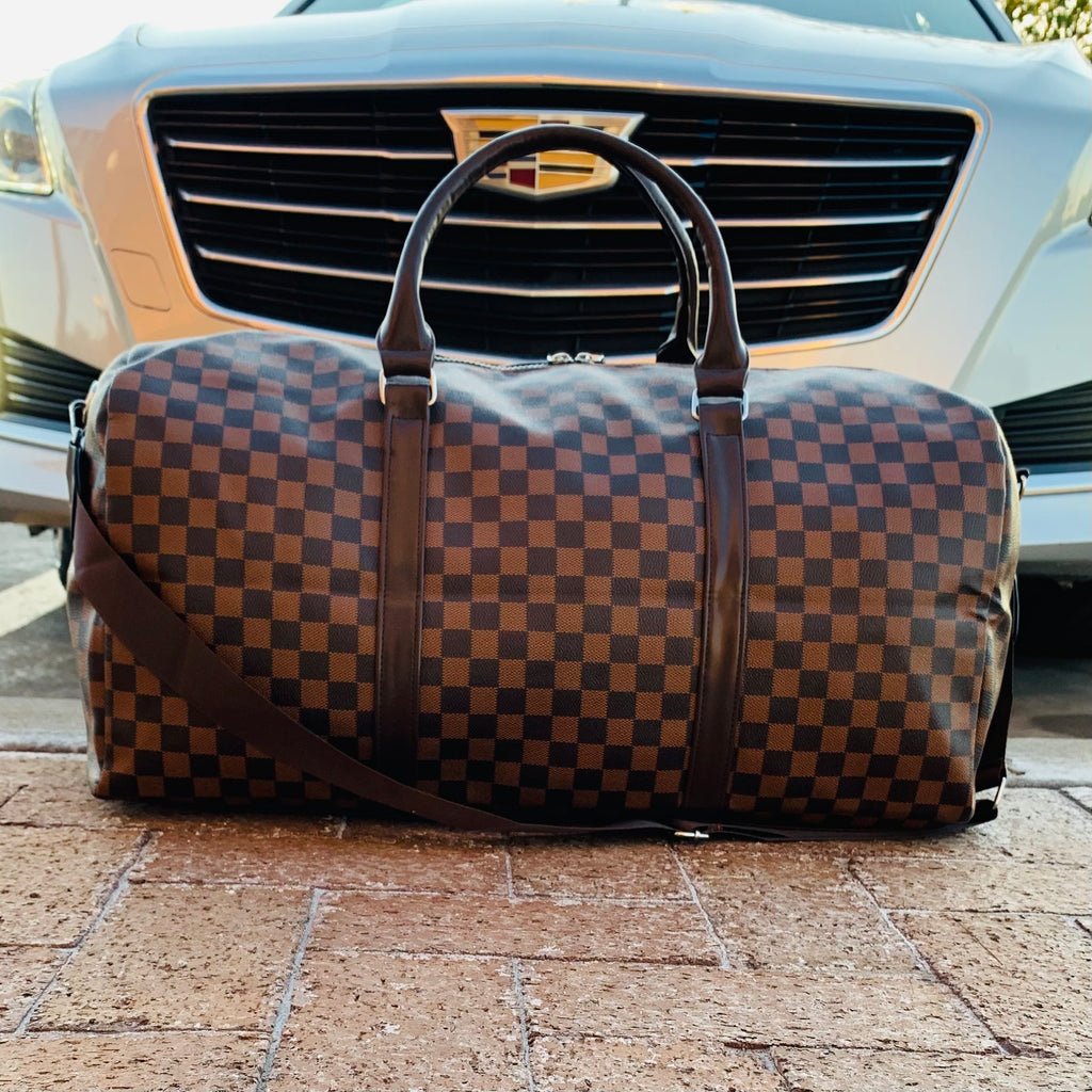 Brown Checkered Duffel Bag